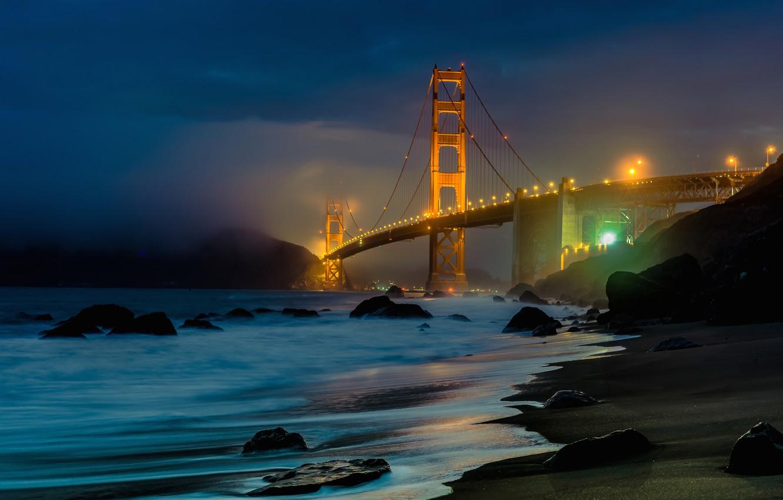 Photo wallpaper landscape, mountains, night, bridge, Strait, stones, shore, lighting, CA, San Francisco, Golden gate, USA, Golden …