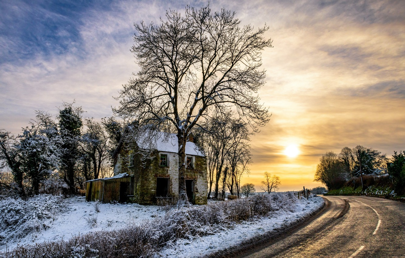 Photo wallpaper road, sunset, tree, the evening, old house, Northern Ireland
