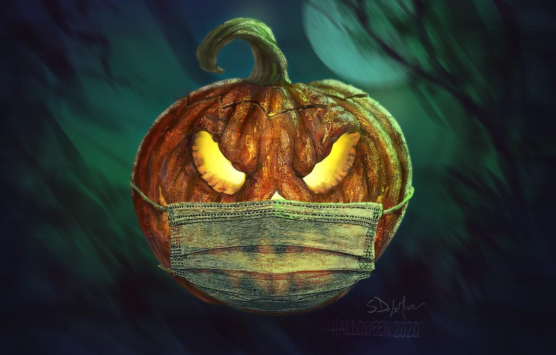 Photo wallpaper the full moon, halloween, Jack, in the dark, evil eye, pumpkin with eyes, dark place, …
