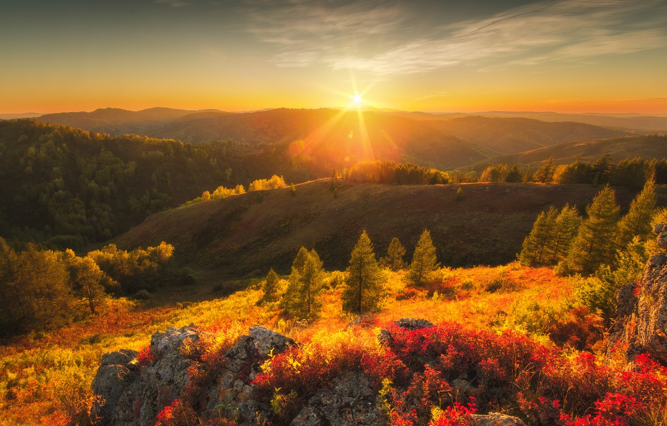 Photo wallpaper autumn, the sun, rays, trees, landscape, mountains, nature, stones, hills, forest, Altay, Rev Alex