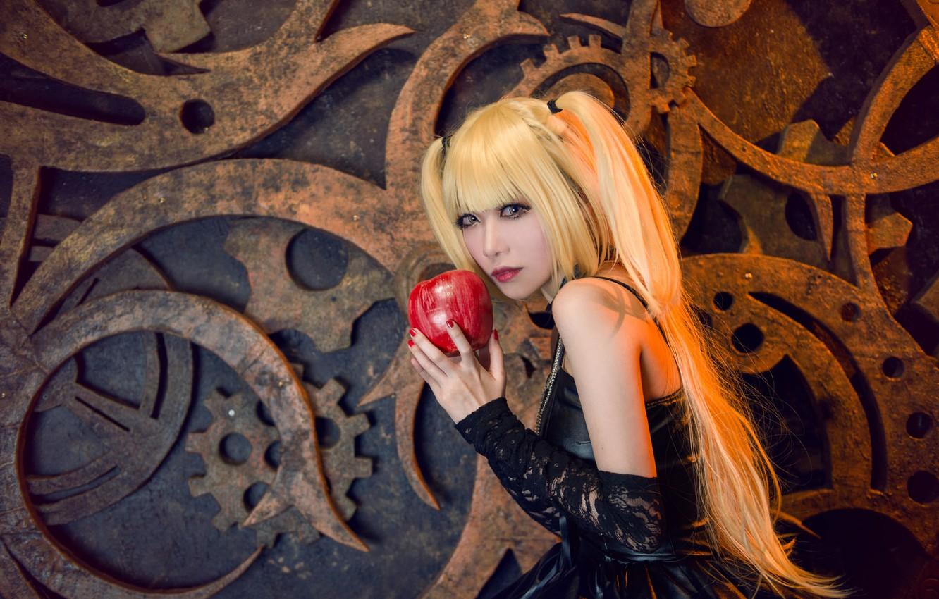 Photo wallpaper look, girl, face, style, Apple, makeup, dress, black, blonde, costume, gear, outfit, image, Asian, long …