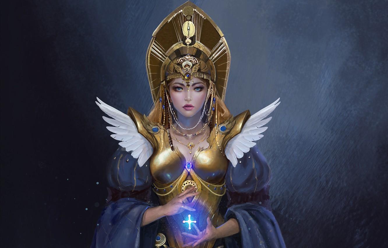 Photo wallpaper look, girl, decoration, magic, armor, fantasy, art