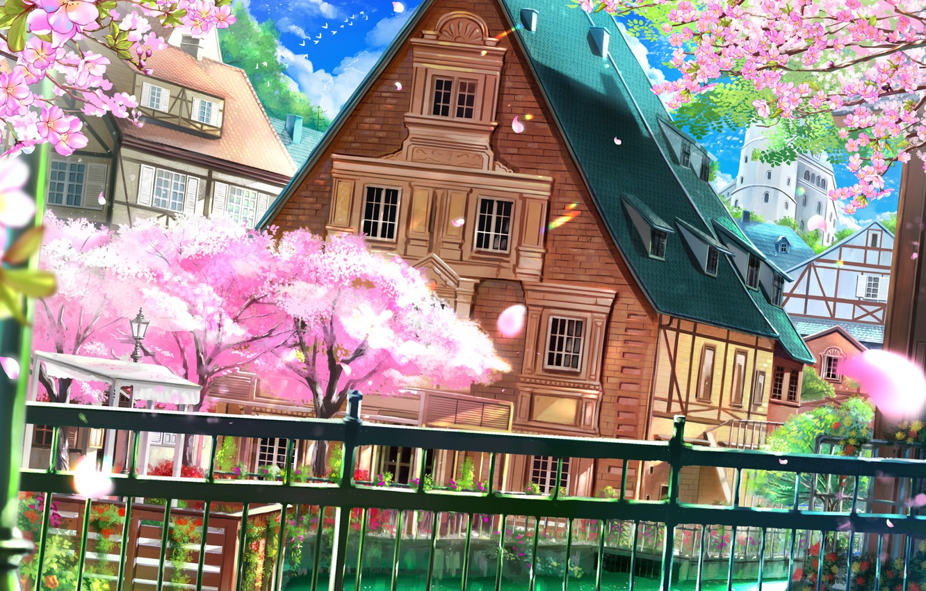 Photo wallpaper wire, the fence, blue sky, wooden house, flowering in the spring, spring breeze