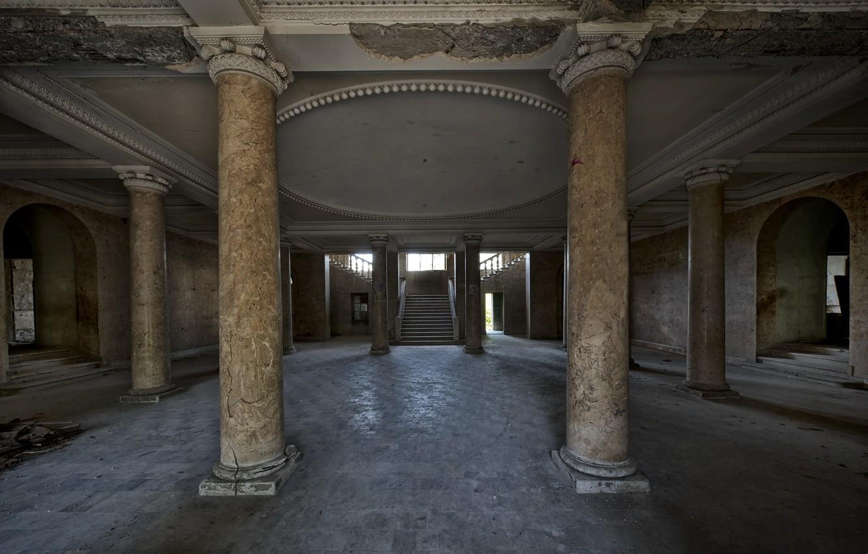 Photo wallpaper interior, hall, columns