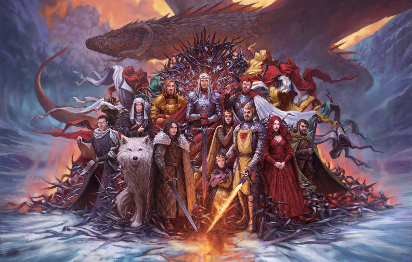 Photo wallpaper Dragon, Wolf, Fantasy, Dragon, Ghost, A song of Ice and Fire, Game of Thrones, Game …