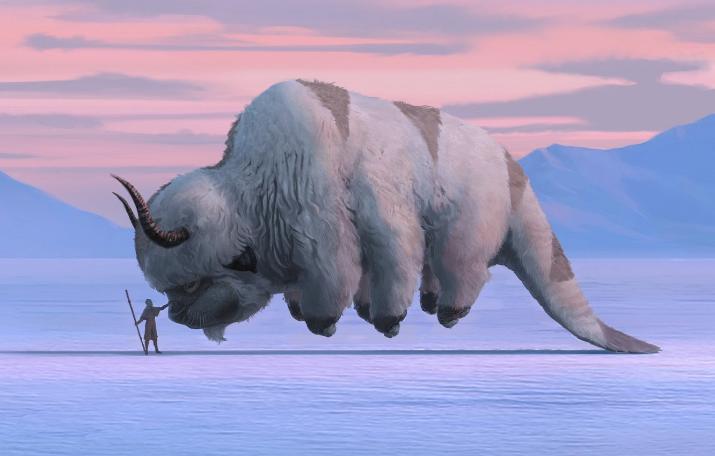 Photo wallpaper fantasy, Avatar, horns, winter, snow, artwork, fantasy art, creature, Avatar: The Last Airbender, Aang, TV …