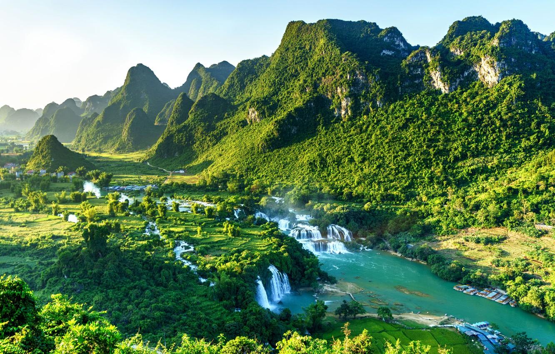 Photo wallpaper forest, mountains, waterfall, Vietnam, Ban Gioc Falls, Datang