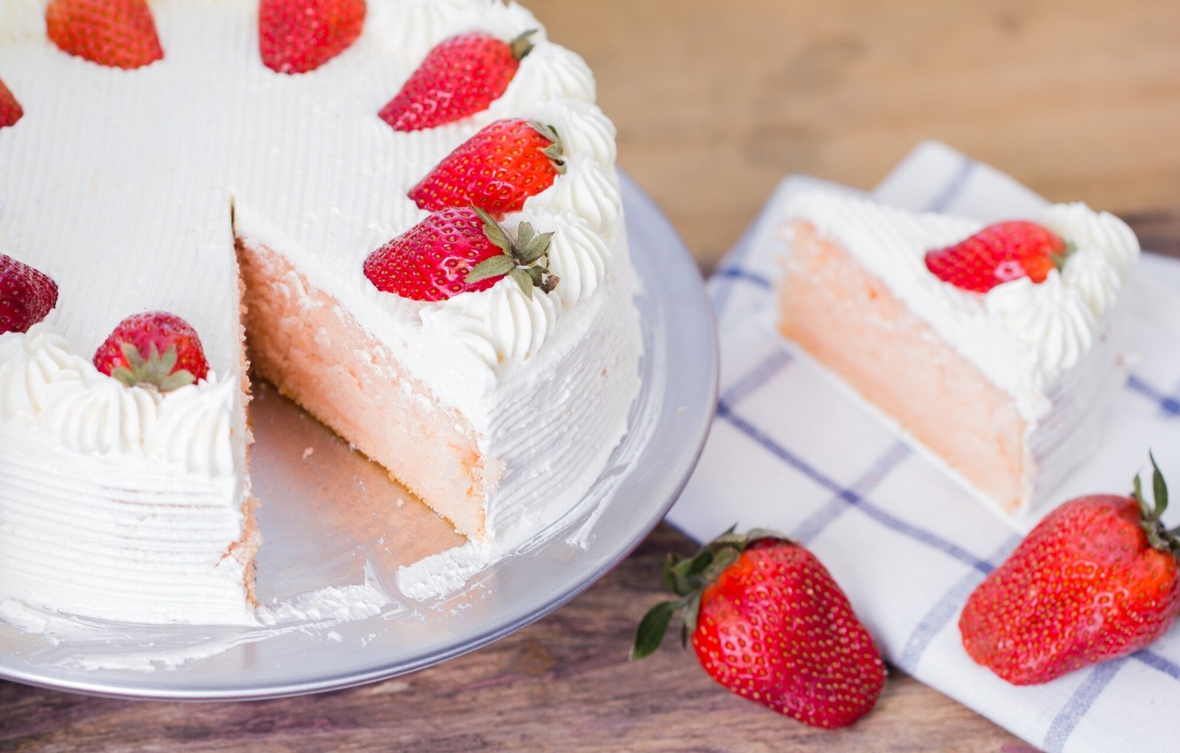 Photo wallpaper strawberry, cake, cream