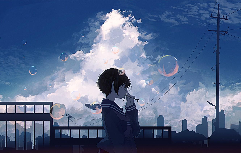 Photo wallpaper girl, the city, bubbles, school uniform