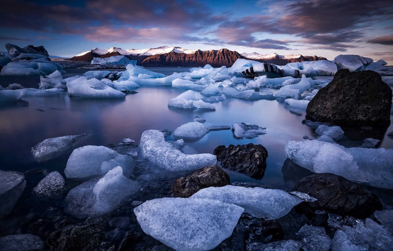 Photo wallpaper winter, mountains, shore, ice, ice, Iceland, pond