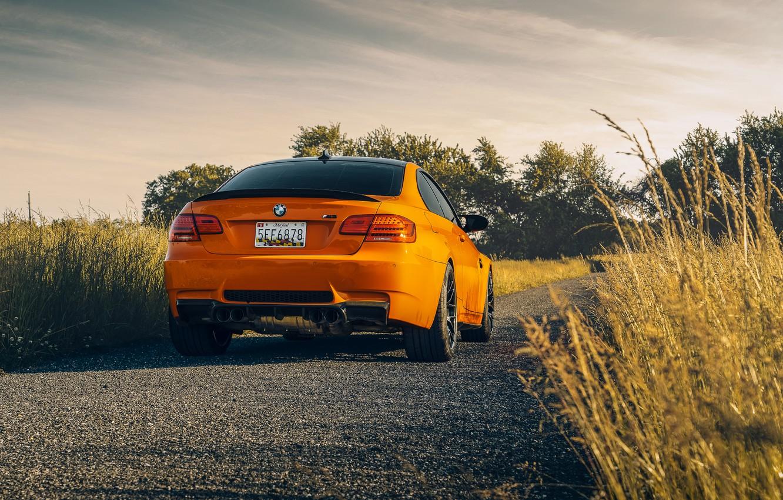 Photo wallpaper bmw, orange, e92, backside