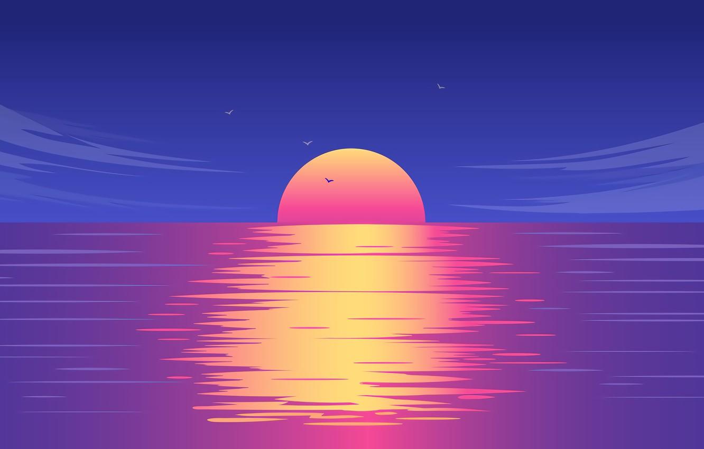 Photo wallpaper Sun, Water, Sunset, Skyline, reflect, digital art, Ocean, Sea, illustration, Artwok, Backlit