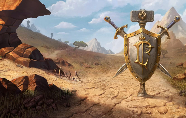 Photo wallpaper World of Warcraft, game, desert, mountains, weapons, digital art, artwork, shield, swords, fantasy art, Blizzard …