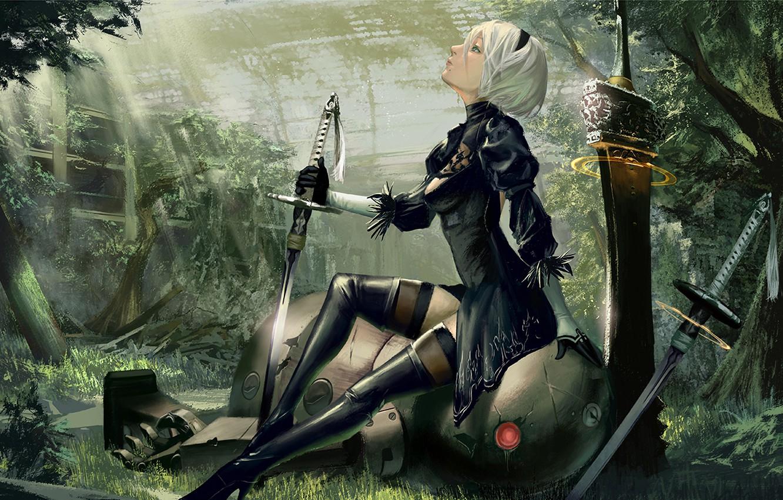 Wallpaper Girl Robot Sword Cyborg Nier Automata Yorha No 2