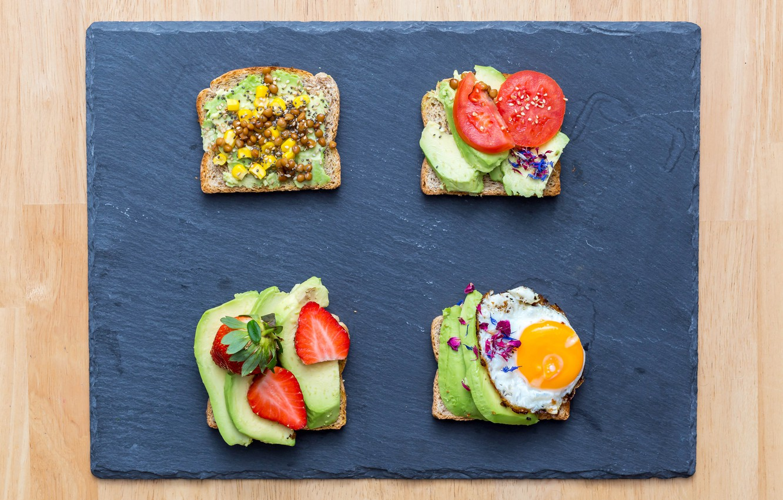 Photo wallpaper photo, Strawberry, Food, Sandwiches, Scrambled eggs, Bread, Avocado