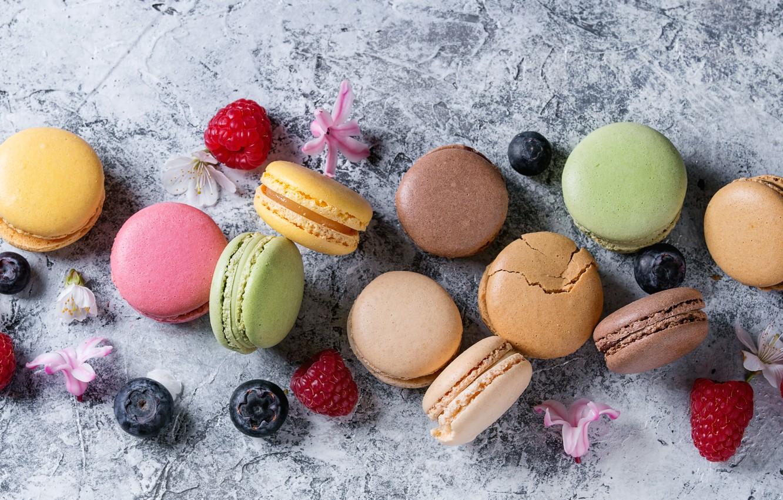 Photo wallpaper berries, colorful, strawberry, flowers, fruit, strawberry, berries, macaroons, macaron, macaroon