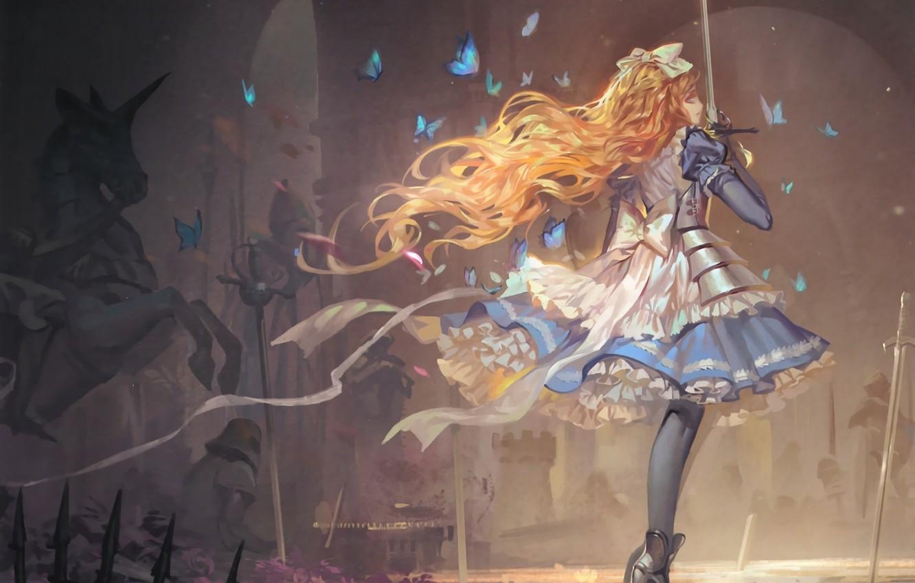 Wallpaper Butterfly Armor Redhead Long Hair Battlefield Chess