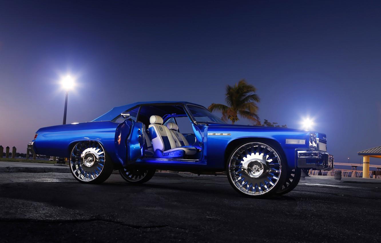 Photo wallpaper night, Palma, coupe, Buick, luxury, 1975, large disks, retro car, Buick Lesabre, светя фонарей, открытая …