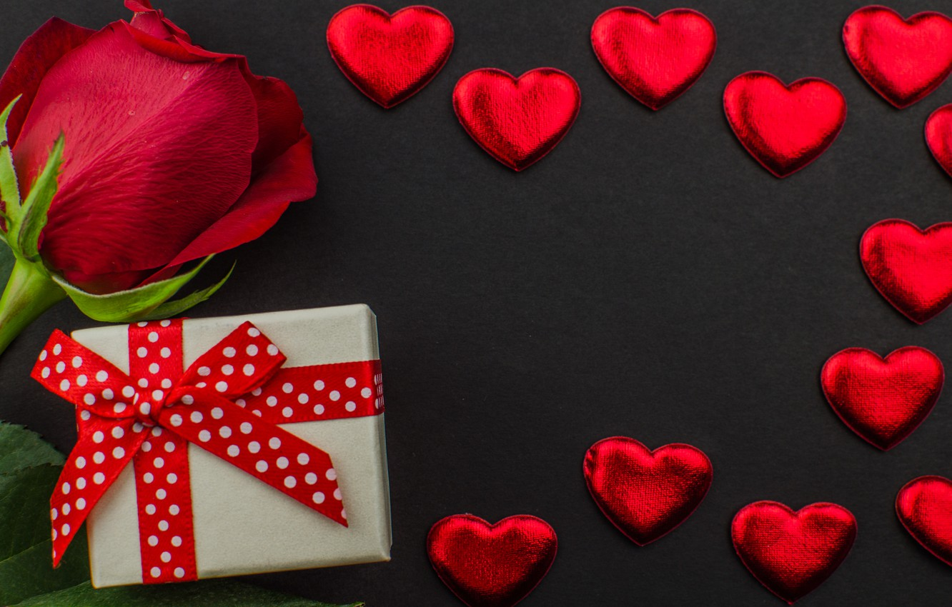 Photo wallpaper gift, chocolate, roses, candy, hearts, red, red, love, flowers, romantic, hearts, chocolate, valentine's day, roses, …