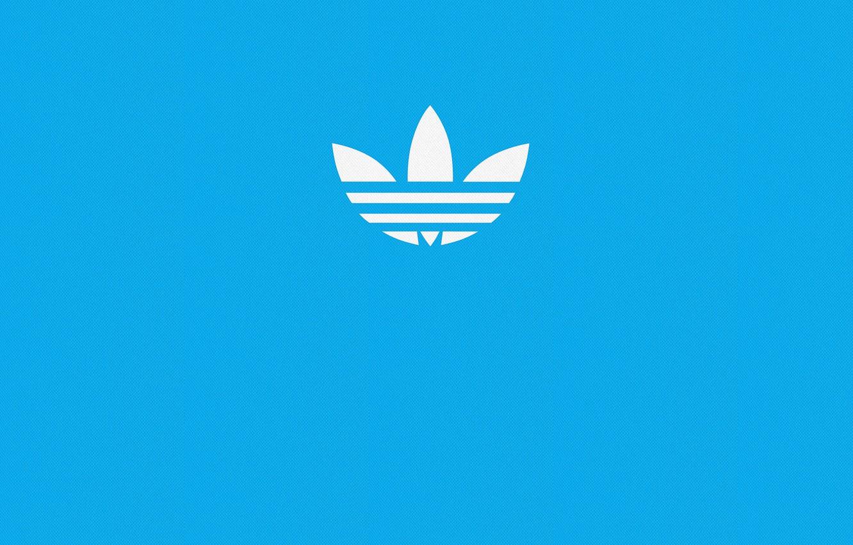 Photo wallpaper blue, blue, sign, Wallpaper, sport, logo, logo, logo, Adidas, adidas, firm, blue background, blue, blue …