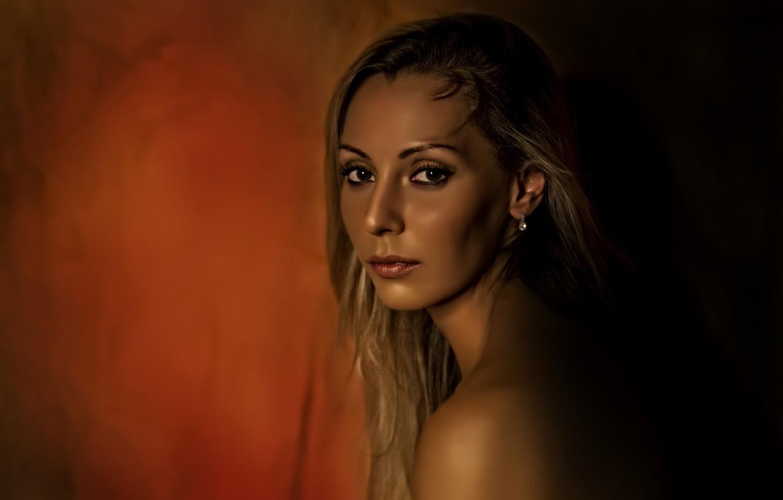 Photo wallpaper red, girl, yellow, beautiful, look, blonde, Kide Fotoart