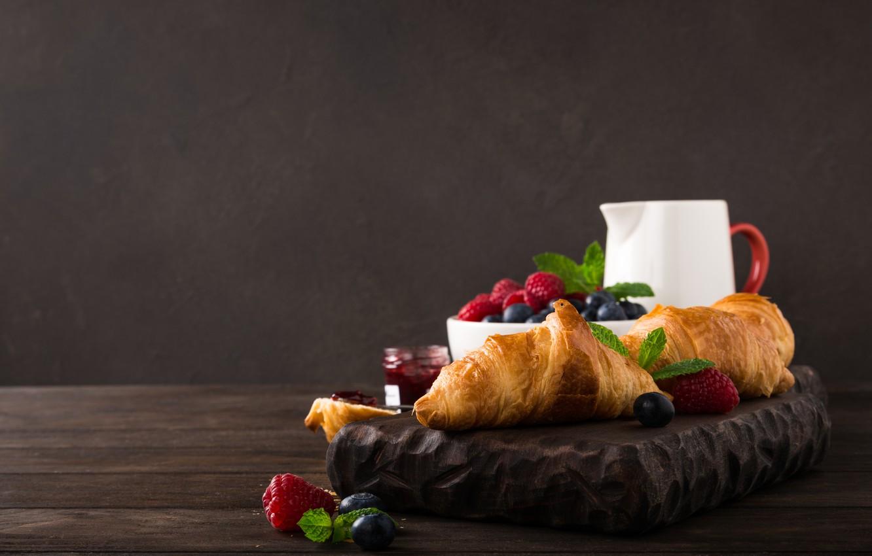 Photo wallpaper berries, food, Breakfast, croissant
