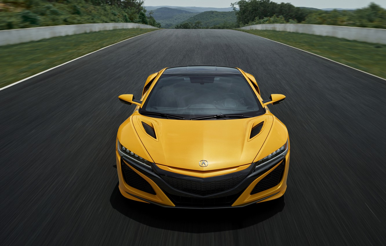 Photo wallpaper yellow, coupe, Honda, track, Acura, NSX, 2020