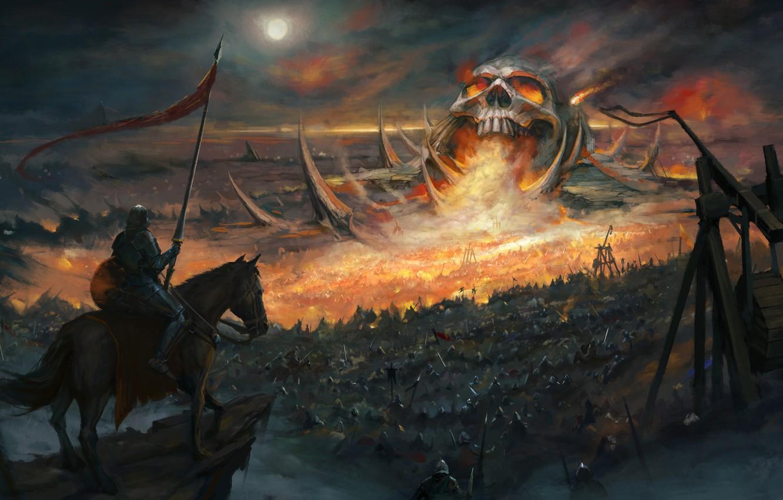 Photo wallpaper horse, skull, armor, battle, fantasy, art, knight