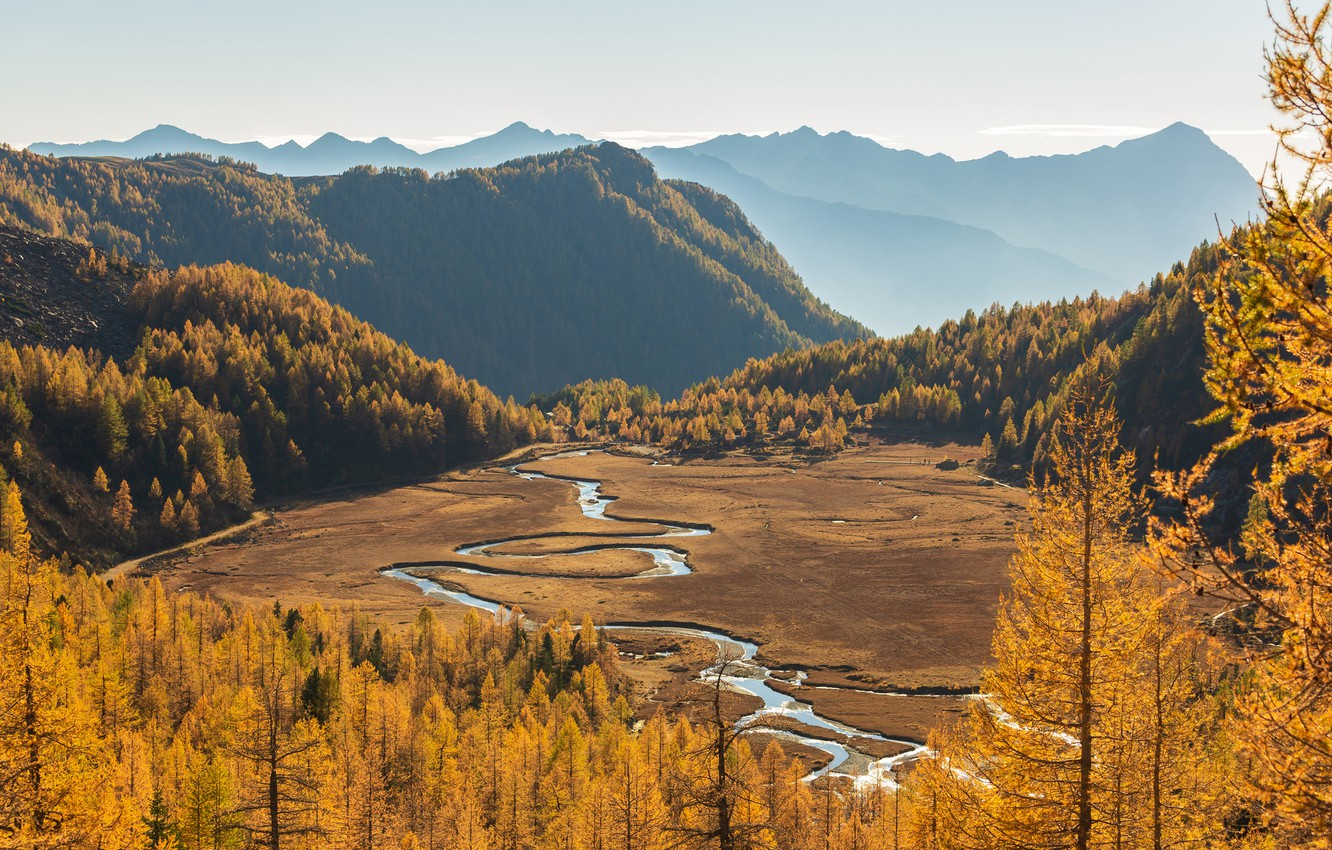 Photo wallpaper autumn, forest, the sky, the sun, trees, mountains, river, valley, Italy, the view from the …