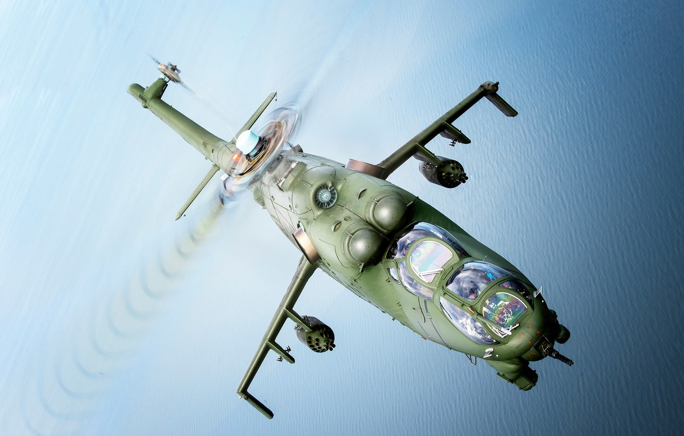Photo wallpaper Sea, Mi-24, Attack helicopter, Cockpit, Polish air force