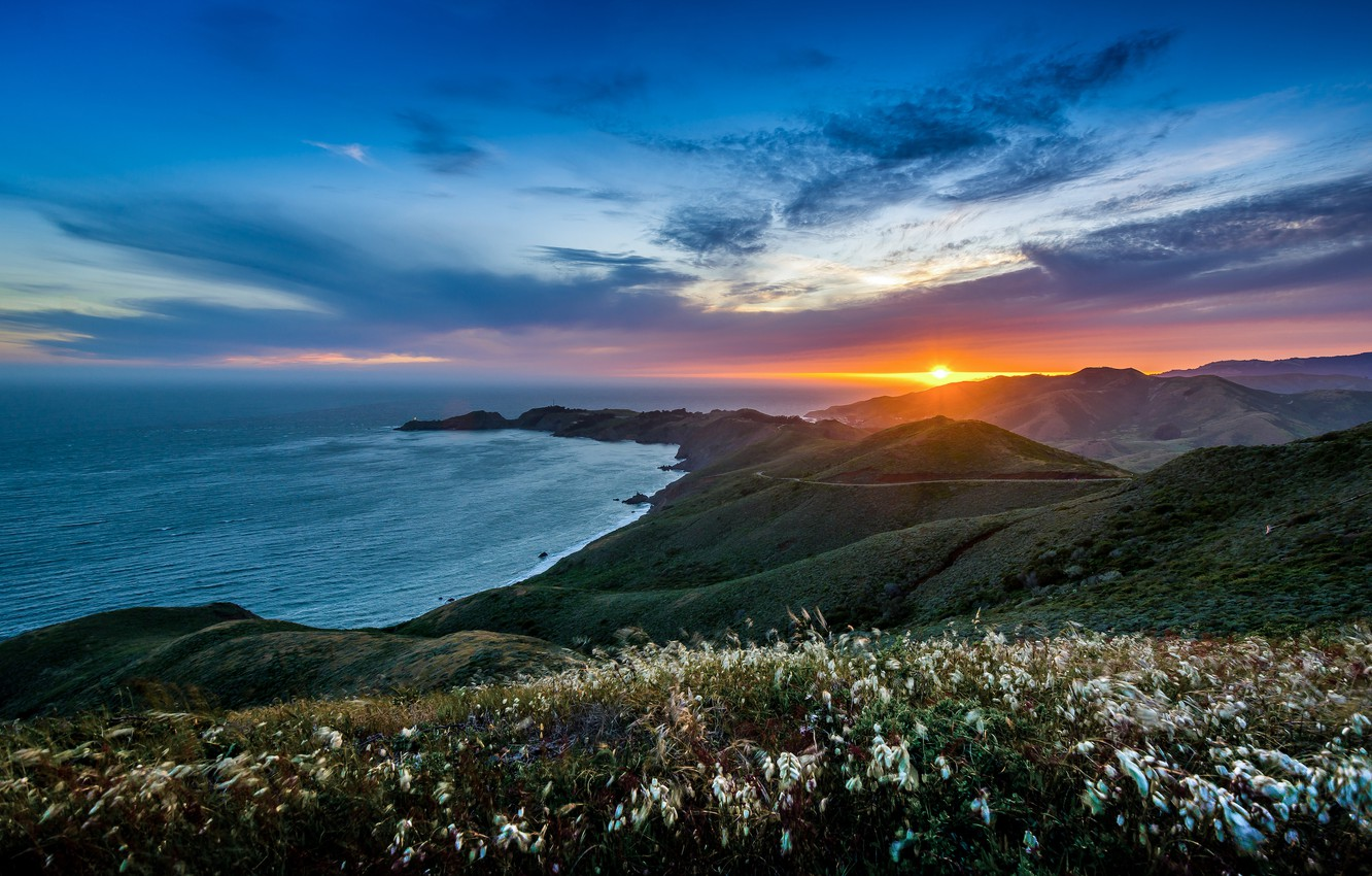 Photo wallpaper landscape, sunset, mountains, nature, the ocean, hills, USA, the Peninsula, Marin Headlands