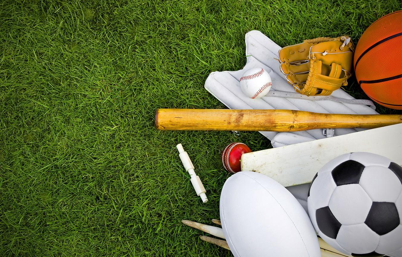 Photo wallpaper grass, lawn, football, balls, baseball, Rugby, basketball, glove, sports, bit, inventory