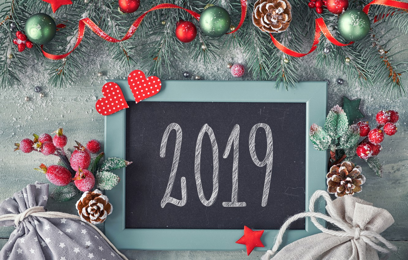 Photo wallpaper background, holiday, the inscription, balls, New year, bumps, decor, 2019