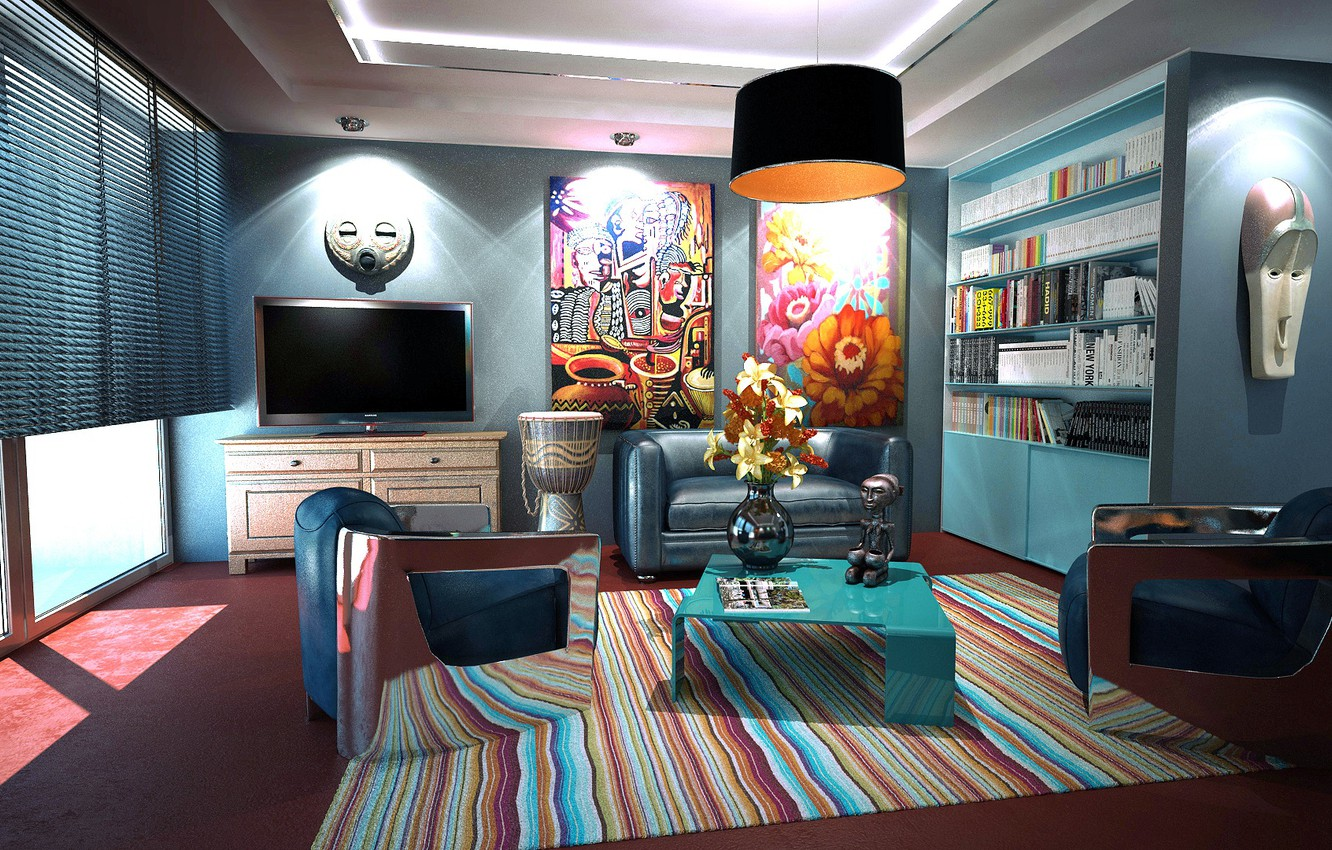 Photo wallpaper light, flowers, room, sofa, books, interior, carpet, TV, window, chairs, pictures, wardrobe, table, blinds