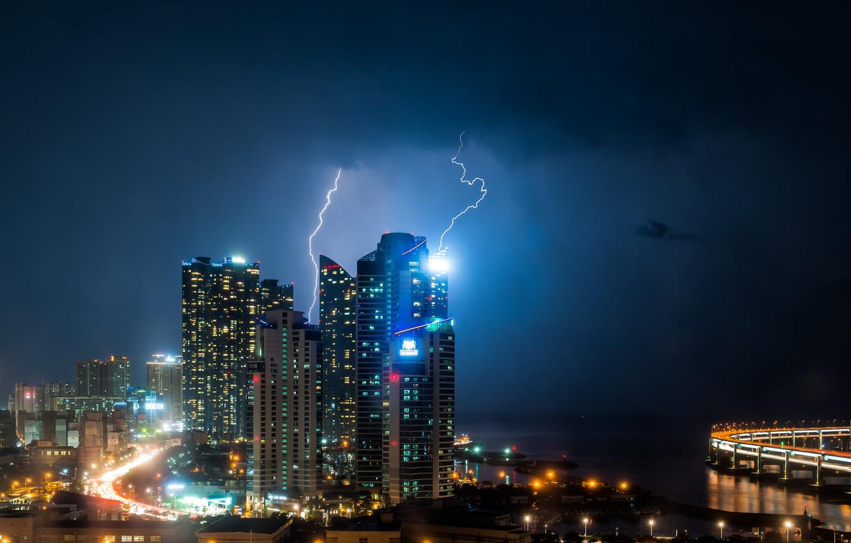 Photo wallpaper lightning, buildings, skyscrapers, metropolis