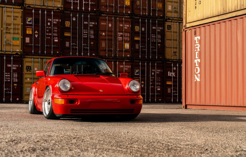 Photo wallpaper car, Porsche, red, Porsche 964