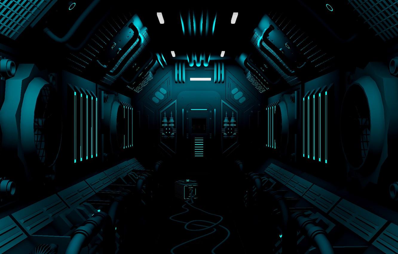 Photo wallpaper station, corridor, sci-fi, equipment