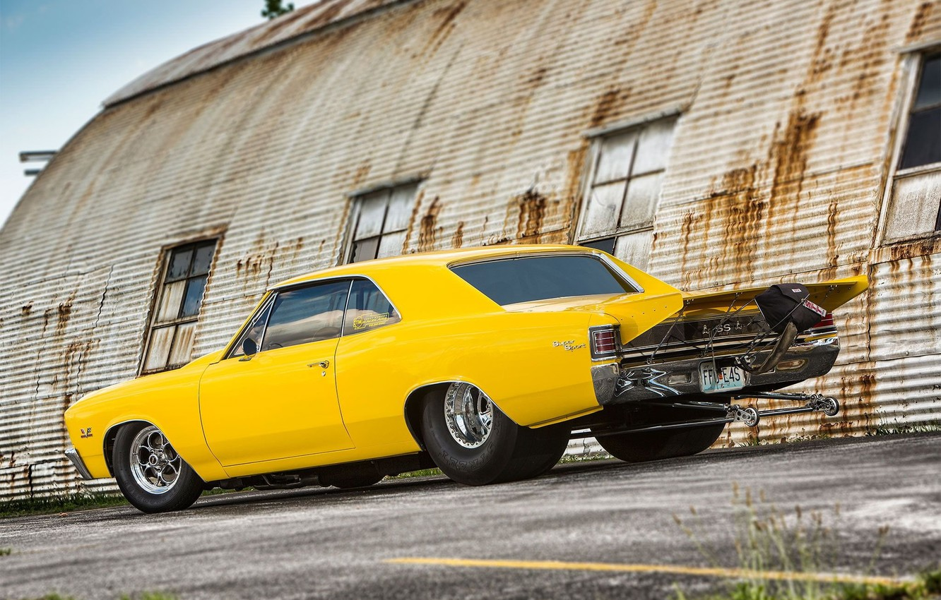 Photo wallpaper Chevrolet, Coupe, Yellow, Super Sport, Chevelle, Vehicle, Modified