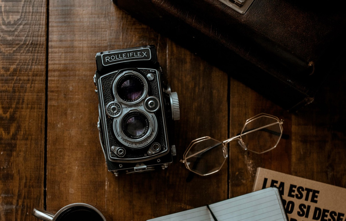 Photo wallpaper retro, glasses, the camera, Notepad, book