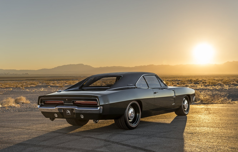 Photo wallpaper Dodge, Landscape, Sun, Charger, Wallpaper, Muscle car, Vehicle