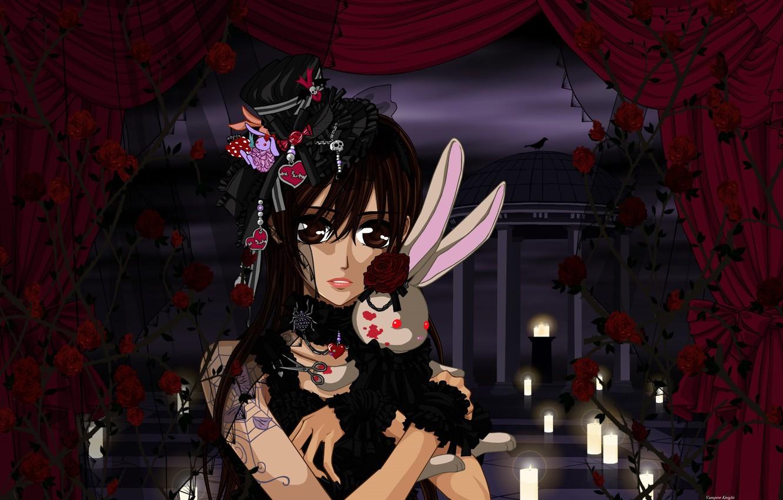 Photo wallpaper web, spider, candles, hearts, curtains, black dress, gazebo, veil, art, scissors, yuuki cross, knight-vampire, red …