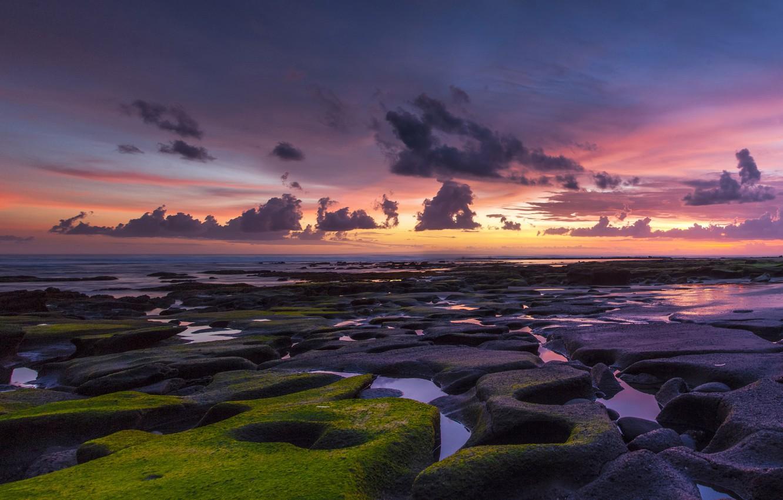 Photo wallpaper sea, the sky, clouds, sunset, stones, the ocean, shore, moss, sky, coast, clouds, rocks, sundown, …