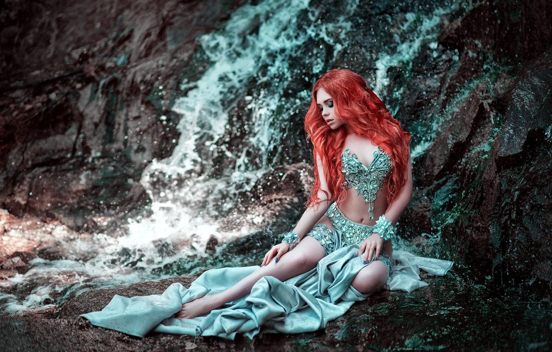 Photo wallpaper girl, pose, rock, style, mood, waterfall, dress, Maria Lipina, fiery hair