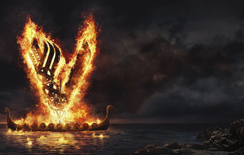 Photo wallpaper sea, night, fire, the Vikings, vikings, Drakkar