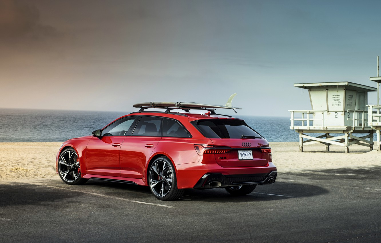 Photo wallpaper sand, beach, red, Audi, Parking, universal, RS 6, 2020, 2019, V8 Twin-Turbo, RS6 Avant