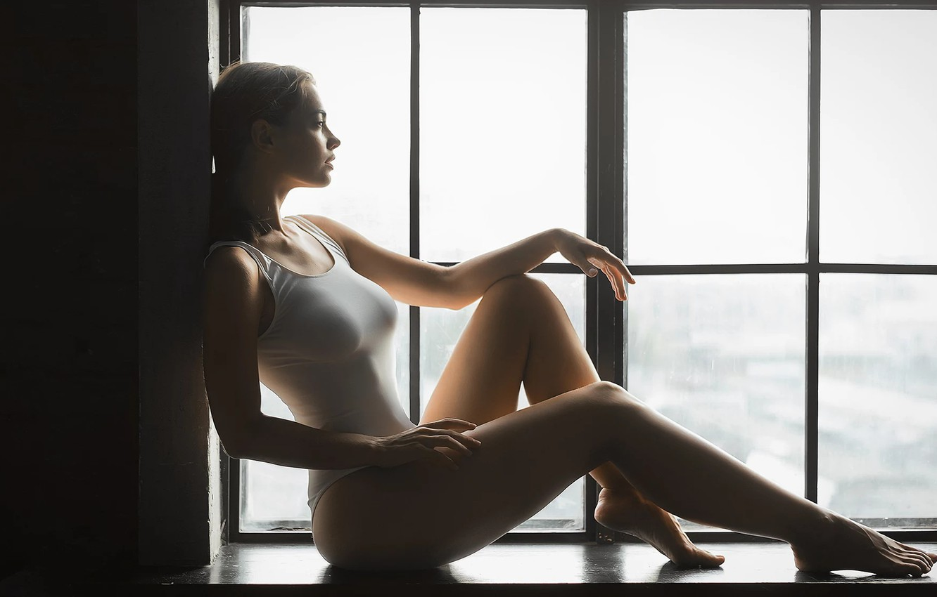 Photo wallpaper chest, girl, window, sitting, Mark Prinz