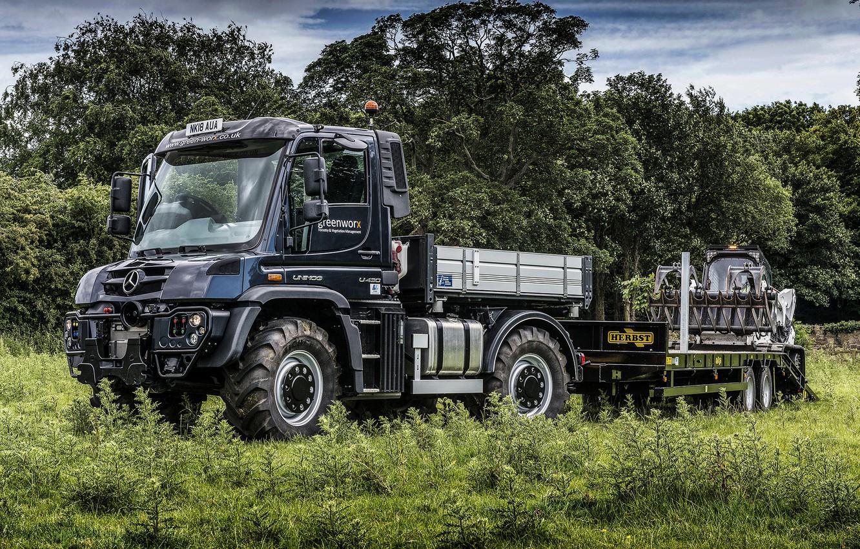 Photo wallpaper field, grass, trees, Mercedes-Benz, truck, the trailer, machinery, Unimog, U430