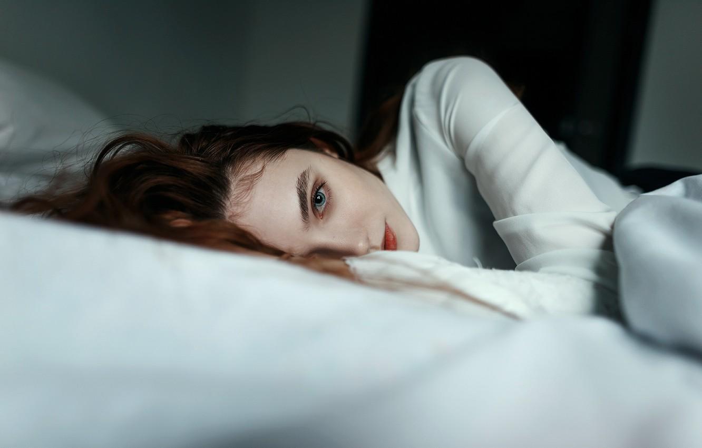 Photo wallpaper look, girl, bed, gentle, Juliana Naidenova