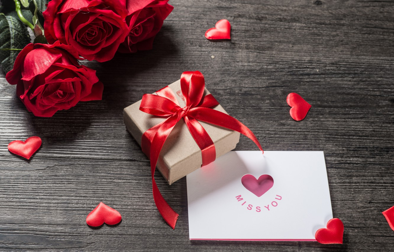 Photo wallpaper love, flowers, gift, heart, roses, red, love, romantic, hearts, valentine's day, gift, roses