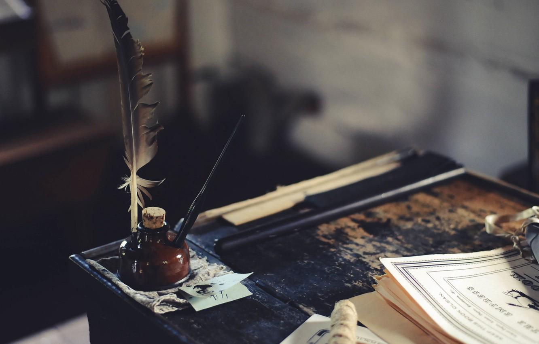 Photo wallpaper table, pen, ink, ink